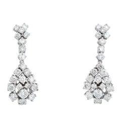3.10 Carat Natural Diamond 18 Karat Solid White Gold Earrings