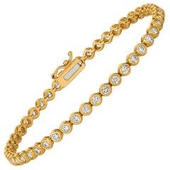 3.10 Carat Natural Diamond Bezel Soft Bracelet G SI 14 Karat Yellow Gold