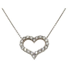 3.10 Carat Natural Diamond Heart Necklace 14 Karat White Gold G SI Chain