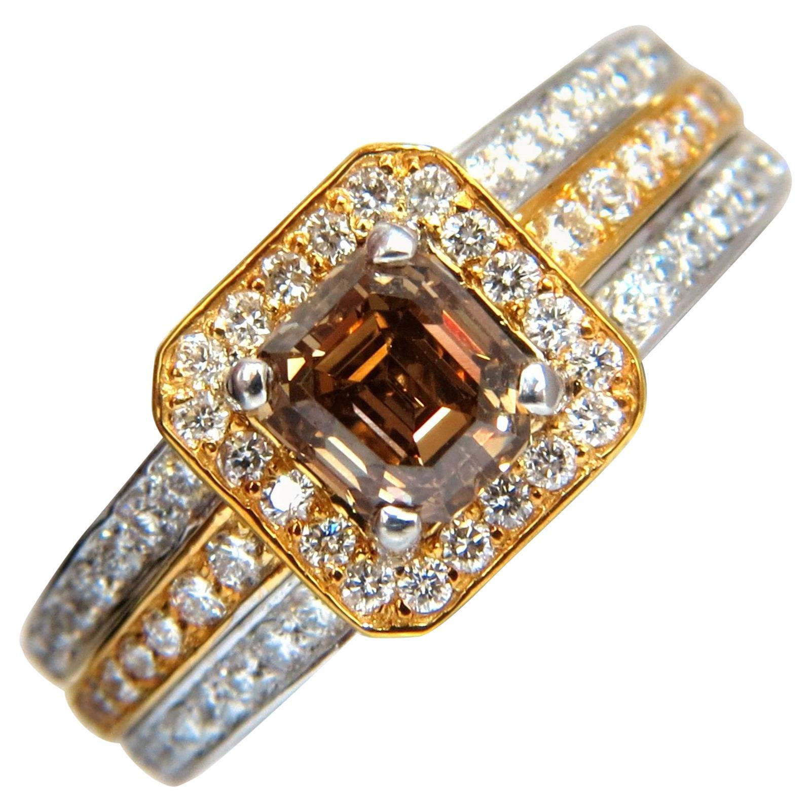 3.10 Carat Natural Fancy Yellow Brown Diamond Raised Halo Mod Deco Ring 14 Karat