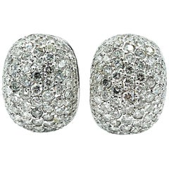 3.10 Carat Pave Round Brilliant Diamond and 18 Karat White Gold Domed Earrings
