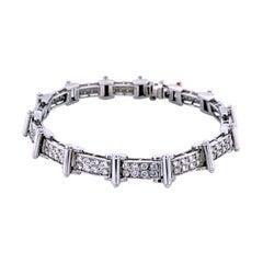 3.10 Carat Pave Set Diamond Platinum Bracelet