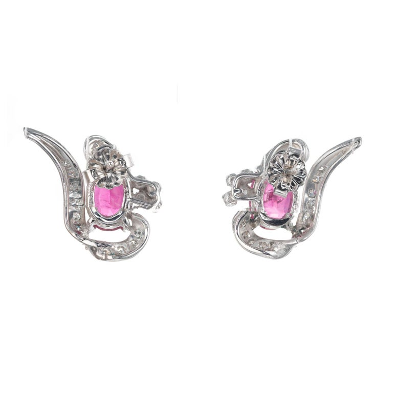 Oval Cut 3.10 Carat Pink Tourmaline Diamond White Gold Swirl Midcentury Earrings For Sale