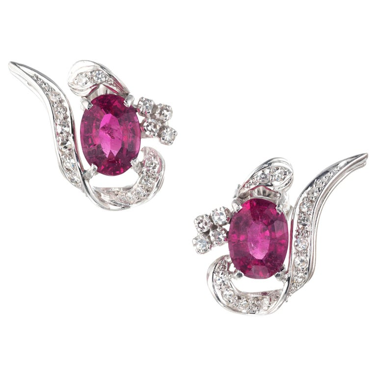 3.10 Carat Pink Tourmaline Diamond White Gold Swirl Midcentury Earrings For Sale