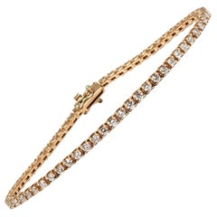 3.10 Carat Rose Pink Gold Diamond Tennis Bracelet