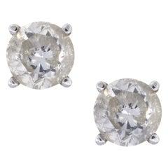 3.10 Carat Round Brilliant Diamond Stud Earrings