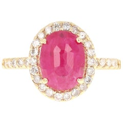 3.10 Carat Ruby Diamond 14 Karat Yellow Gold Engagement Ring