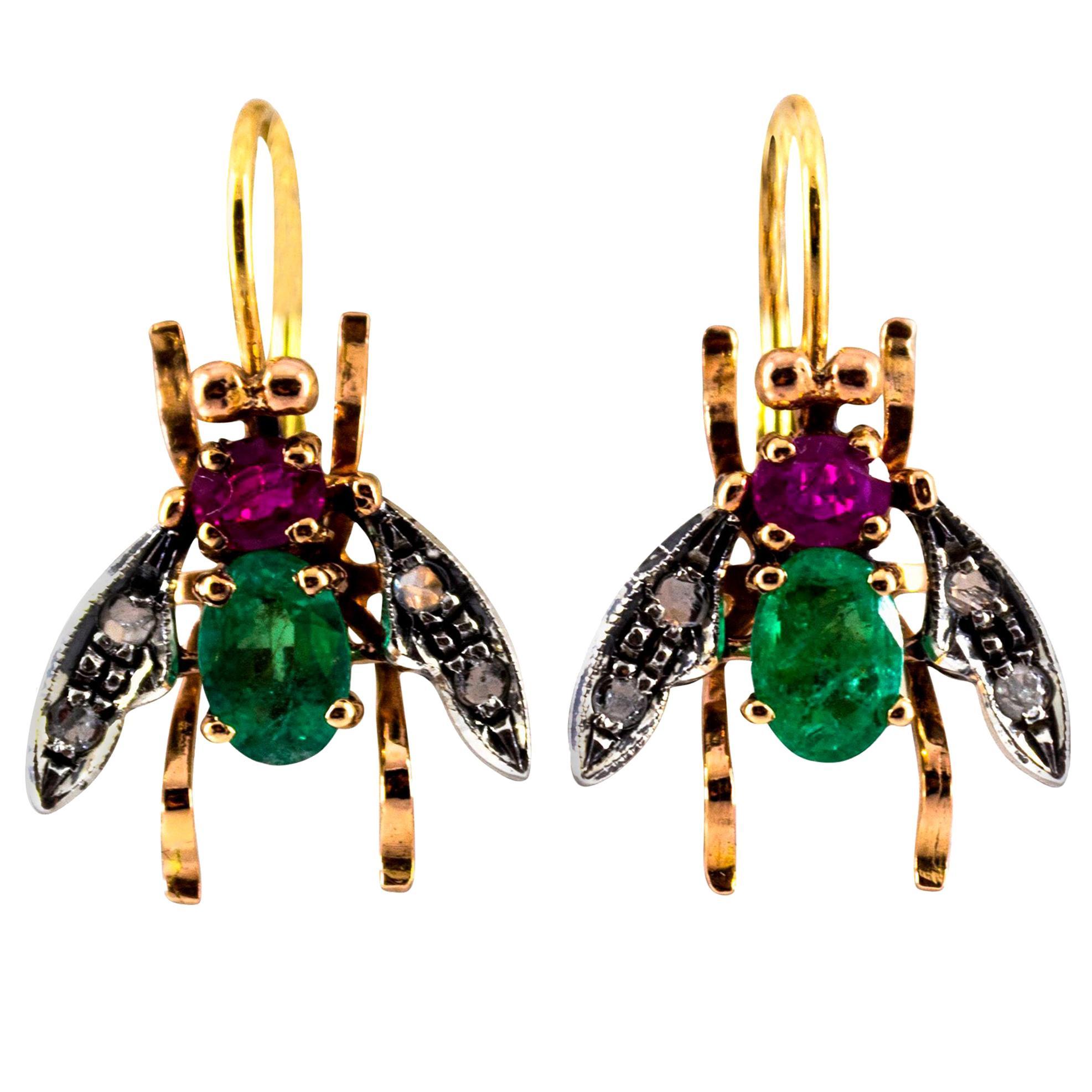 3.10 Carat Ruby Emerald White Rose Cut Diamond Yellow Gold Dangle Flies Earrings