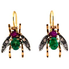 3.10 Carat Ruby Emerald White Rose Cut Diamond Yellow Gold Dangle Flies Earrings