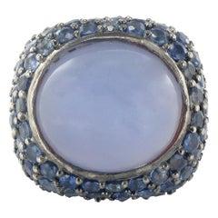3.10 Carat Sapphire 19.20 Carat Chalcedony Silver Ring