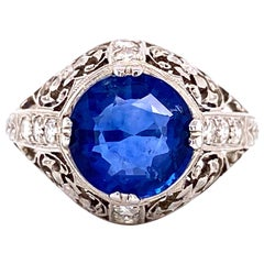 3.10 Carat Sapphire and Diamond Platinum Cocktail Ring Estate Fine Jewelry