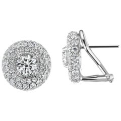 3.10 Carat Total Weight Round Halo Diamond Earrings in 18 Karat White Gold