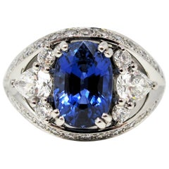 3.10 Carat Untreated Oval Mixed Cut Sapphire and Diamond Ring in Platinum