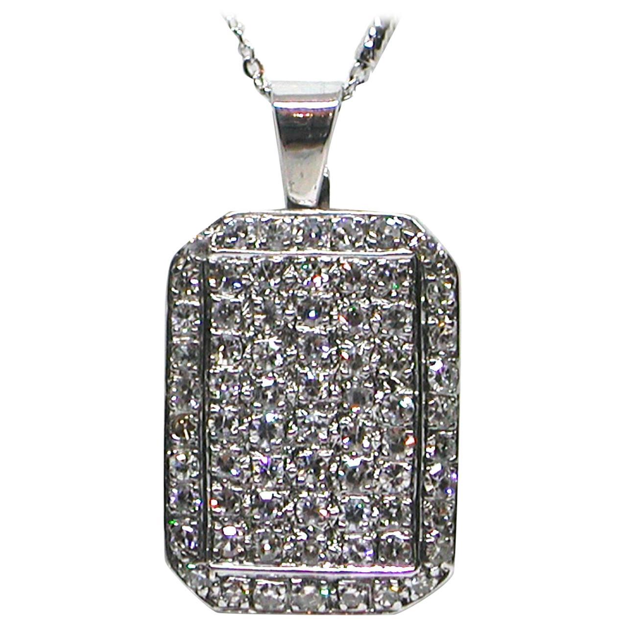 3.10 Carat White Gold Diamond Necklace Pendant