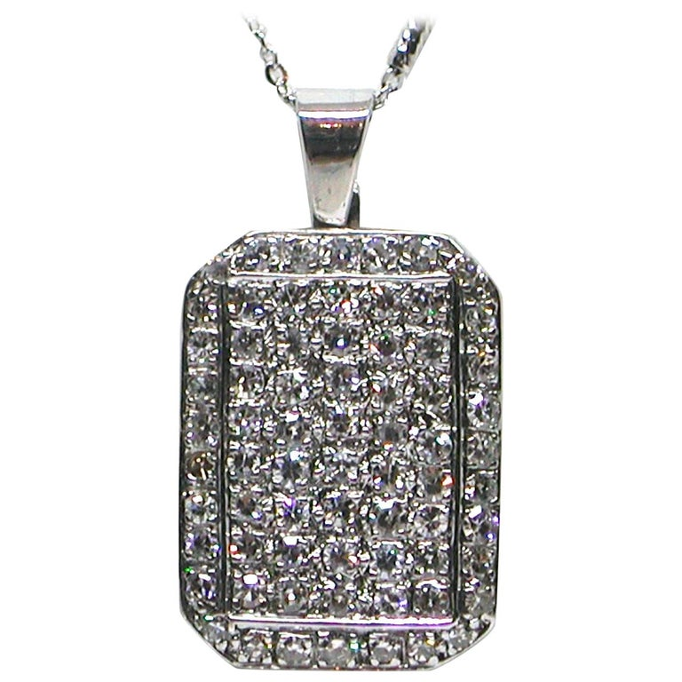 3.10 Carat White Gold Diamond Necklace Pendant For Sale