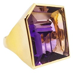 31.01 Carat Amethyst-Tourmaline Yellow Gold Ring by Atelier Munsteiner
