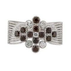 31.03 Carat Multi Diamond Row Cluster Bangle 18 Karat in Stock