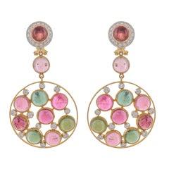 31.09 Carat Multi Tourmaline Diamond 18 Karat Yellow Gold Earrings