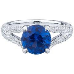 3.10ct Ceylon Sapphire, Round, Cornflower Blue and Diamond Ring, GIA Certified