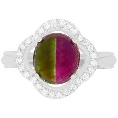 3.11 Carat Bicolor Watermelon Tourmaline and Diamond Ring