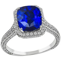 3.11 Carat Ceylon Sapphire 0.75 Carat Diamond Engagement Ring