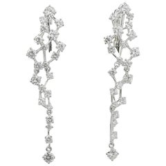 3.11 Carat GVS Round Diamonds Drop Earrings 18K White Gold Dangle Earrings