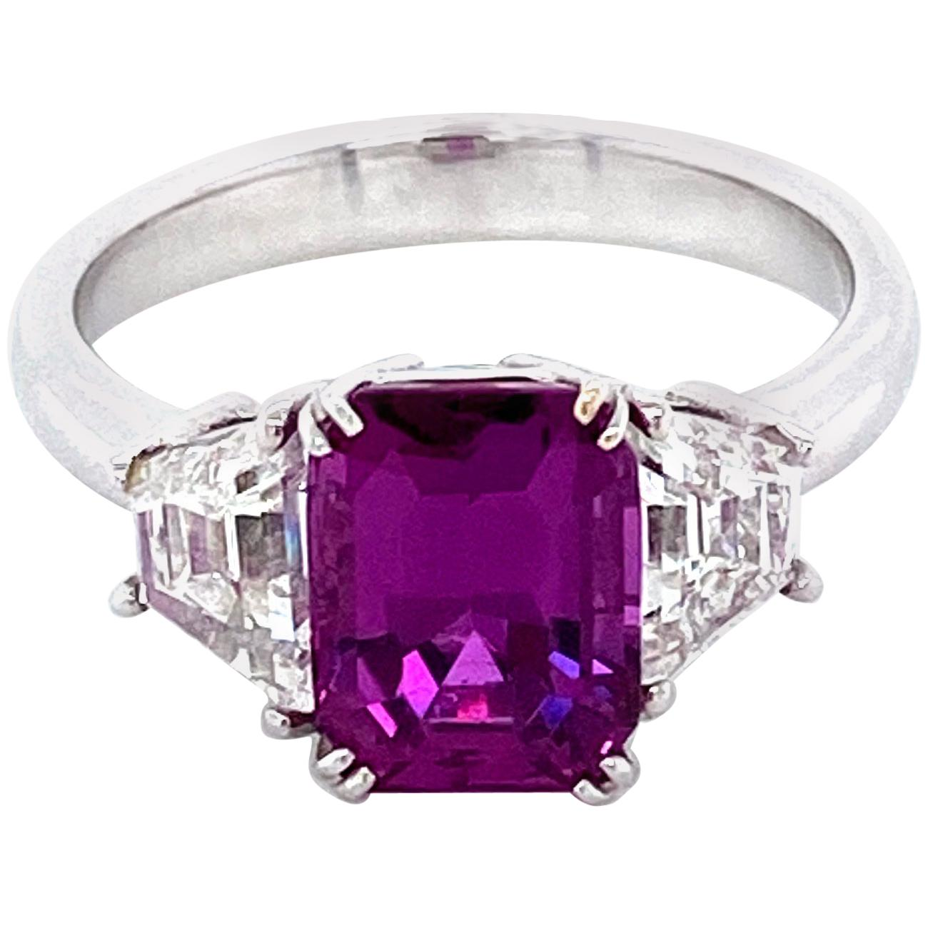 3.11 Carat Emerald Cut Pink Sapphire and Diamond White Gold Engagement Ring