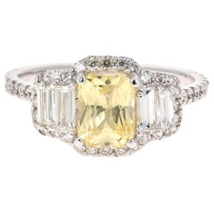 3.11 Carat GIA Certified Yellow Sapphire and Diamond 18 Karat White Gold Ring