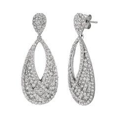 3.11 Carat Natural Diamond Drop Earrings G SI 14k White Gold