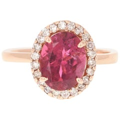 3.11 Carat Pink Tourmaline Diamond 14 Karat Rose Gold Engagement Ring