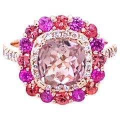 3.11 Carat Tourmaline Sapphire Diamond 14 Karat Rose Gold Cocktail Ring