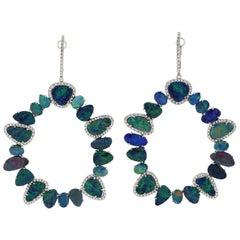 31.13 Carat Opal Diamond 14 Karat Gold Earrings