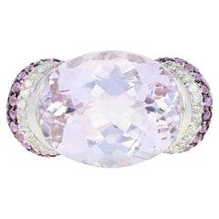 31.15 Carat Oval Kunzite, Pink Sapphire, and Diamond Ring, 14 Karat White Gold