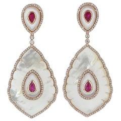 31.17 Carat Mother of Pearl Ruby Diamond 18 Karat Gold Taj Earrings