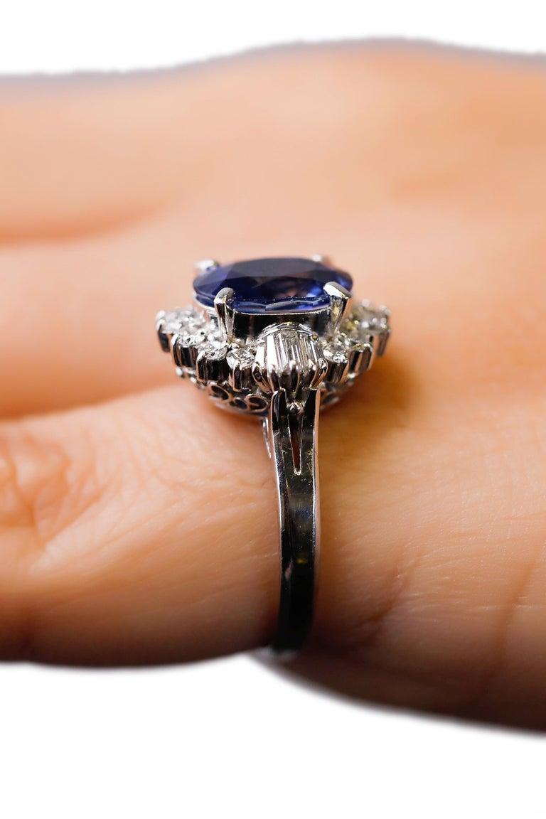 Victorian 3.11 Carat Oval Blue Sapphire 0.61 Carat Diamond Platinum Halo Ring Engagement For Sale