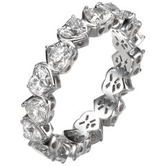 3.12 Carat Diamond Heart Shape Eternity Ring 18K Gold