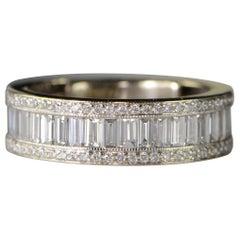 3.12 Carat Emerald and Round Diamond Wedding Band Gold Ring