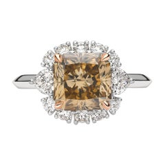18 Karat Rose Gold 3.12 Carat Fancy Deep Yellow Brown Radiant Cut Diamond Ring
