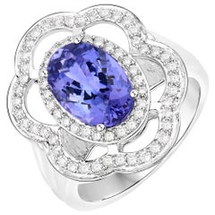 3.12 Carat Genuine Tanzanite and White Diamond 14 Karat White Gold Ring