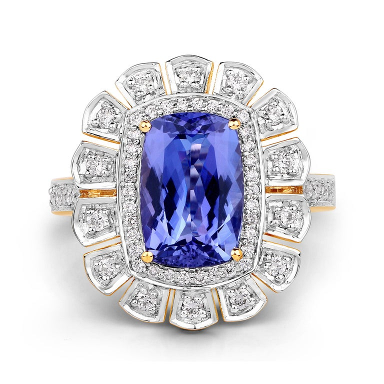 Cushion Cut 3.12 Carat Genuine Tanzanite and White Diamond 14 Karat Yellow Gold Ring For Sale