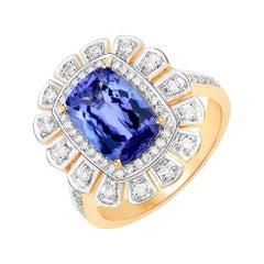 3.12 Carat Genuine Tanzanite and White Diamond 14 Karat Yellow Gold Ring