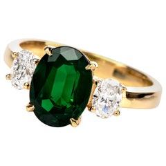 3.12 Carat GIA Certified Tsavorite Diamond 3-Stone Ring
