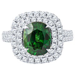 3.12 Carat Green Cushion Cut Sapphire 'GIA Lab Report' in an 18K Diamond Ring