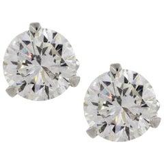 3.21 Carat Natural Diamond Studs Excellent Cut