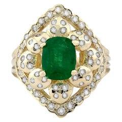3.12 Carat Natural Emerald 18 Karat Yellow Gold Diamond Ring