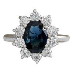 3.12 Carat Natural Sapphire 18 Karat White Gold Diamond Ring