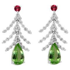 3.12 Carat Pear Shape Paraiba Tourmaline Fancy Drop Dangle Earrings 14K Gold