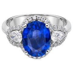 3.12 Carat Royal Blue Sapphire GRS Certified Non Heated Diamond Ring Oval Cut
