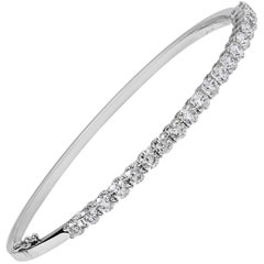 3.12 Carat Total Round Diamond Bangle Bracelet
