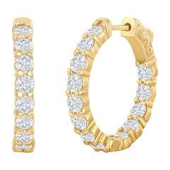 3.12 Carat Yellow Gold Diamond Hoop Earrings